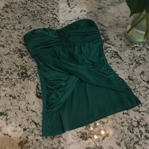 Emerald Green Silky Embellished Top, XS